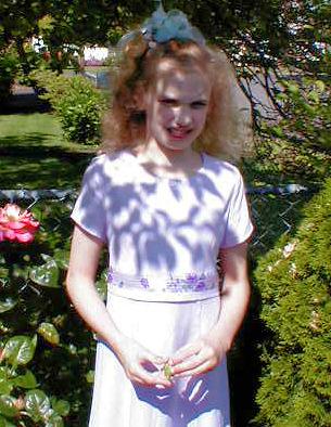 Rachel dressed for mass