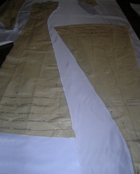 The lining ready to cut.