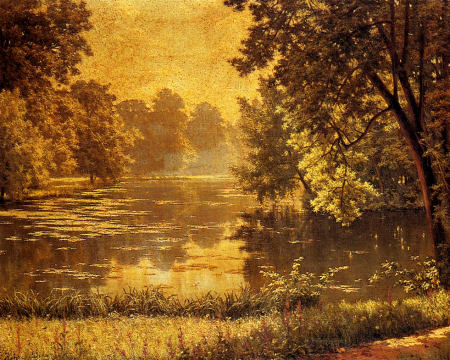 Wooded River Landscape - Henri Biva